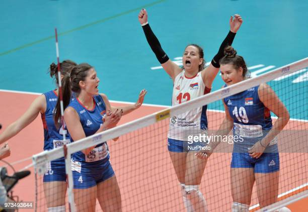 and BOJANA MILENKOVIC of Serbia celebrate with teammate during FIVB Volleyball Nations League on 12 June 2018 in Santa Fe Argentina The US Womens...
