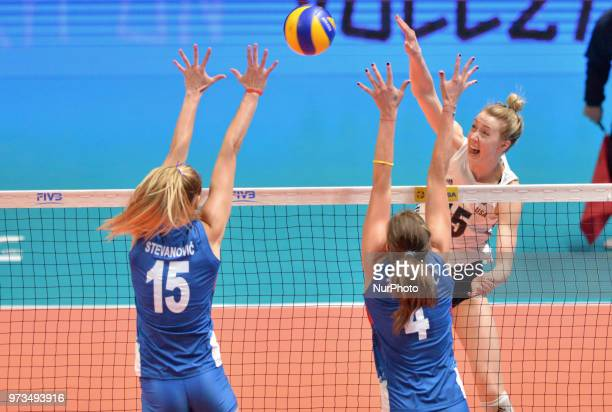 and BOJANA ZIVKOVIC of Serbia in action during FIVB Volleyball Nations League on 12 June 2018 in Santa Fe Argentina The US Womens National Team lost...