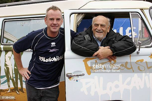 DJ and Brighton and Hove Albion fan Fatboy Slim poses with Brighton Chairman Dick Knight as he launches his new album 'Palookaville' at Withdean...