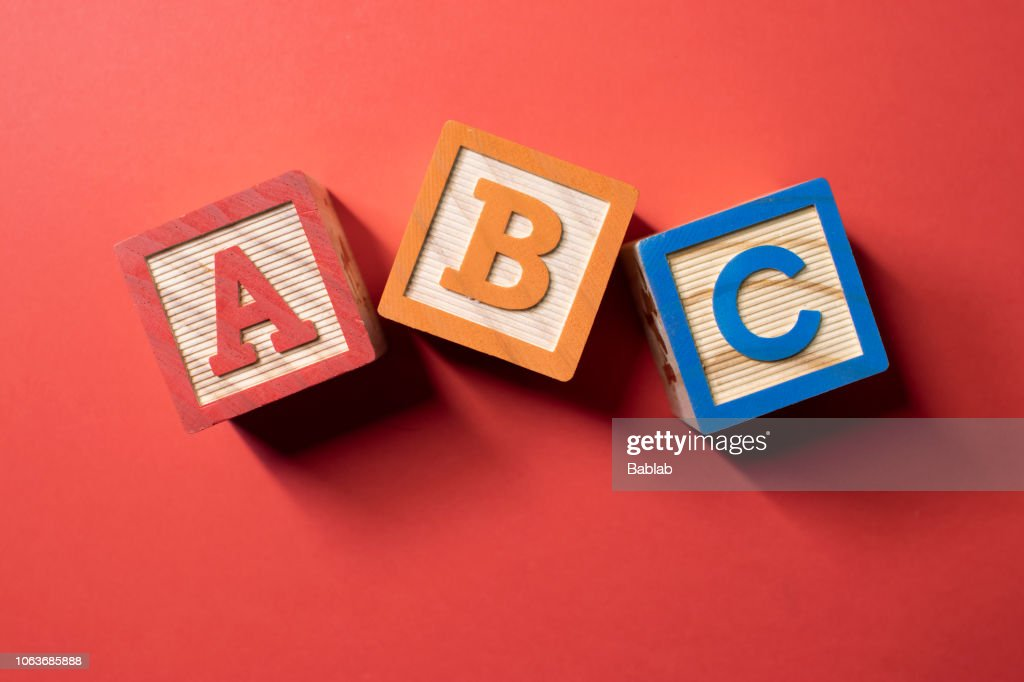 A, B and C wooden blocks : Stock Photo