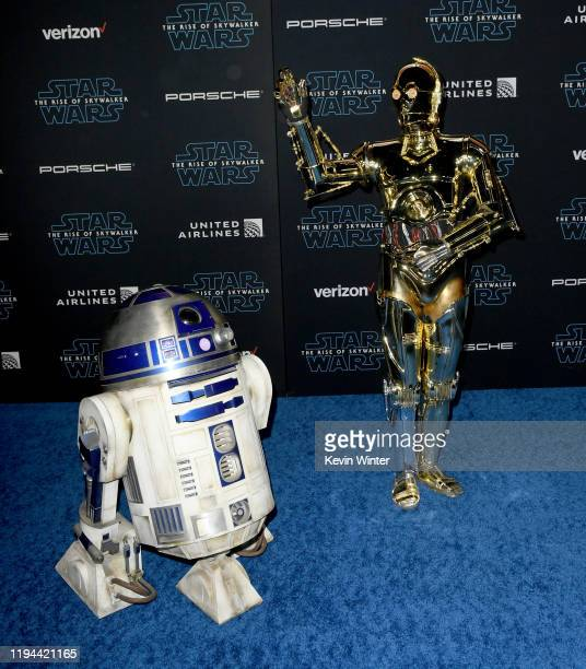 "And C-3PO arrive at the premiere of Disney's ""Star Wars: The Rise Of The Skywalker"" on December 16, 2019 in Hollywood, California."