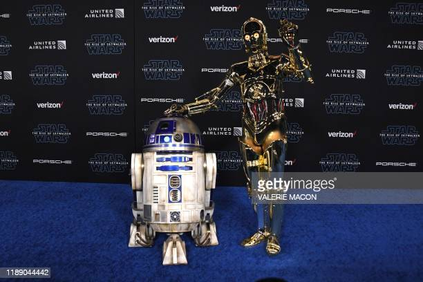 and C3PO arrive for the world premiere of Disney's Star Wars Rise of Skywalker at the TCL Chinese Theatre in Hollywood California on December 16 2019