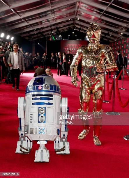 and C3PO at the world premiere of Lucasfilm's Star Wars The Last Jedi at The Shrine Auditorium on December 9 2017 in Los Angeles California
