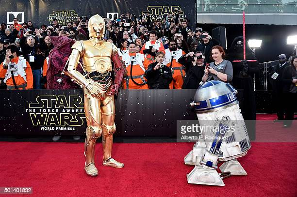 """and C3PO attend the World Premiere of """"Star Wars The Force Awakens"""" at the Dolby El Capitan and TCL Theatres on December 14 2015 in Hollywood..."""