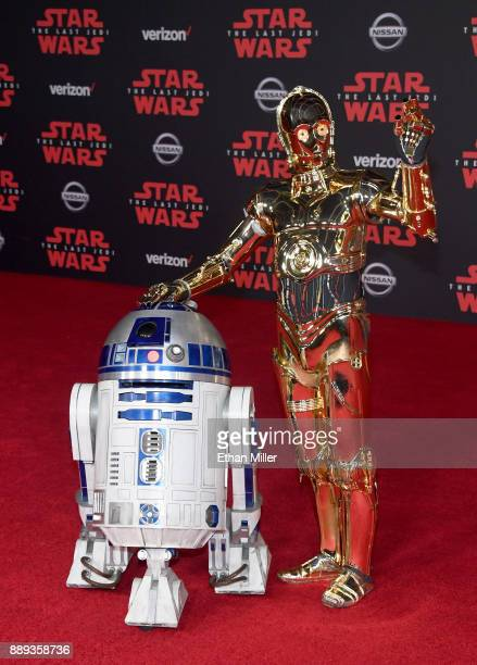 and C3PO characters arrive at the premiere of Disney Pictures and Lucasfilm's Star Wars The Last Jedi at The Shrine Auditorium on December 9 2017 in...