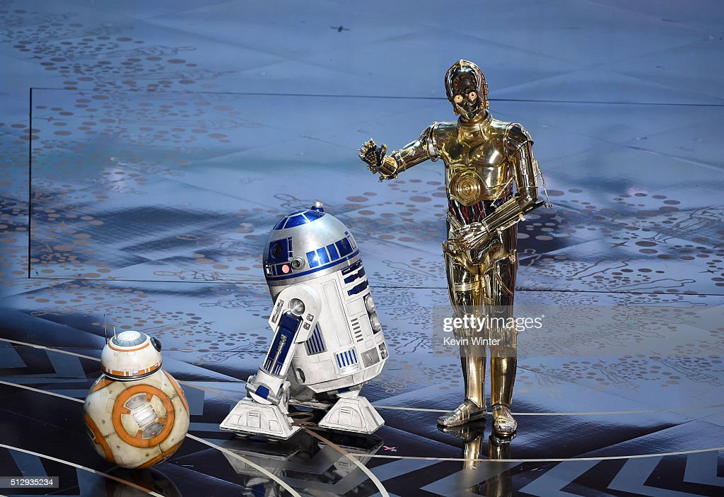 D2 and C-3PO from 'Star Wars' appear onstage during the 88th Annual Academy Awards at the Dolby Theatre on February 28, 2016 in Hollywood, California.