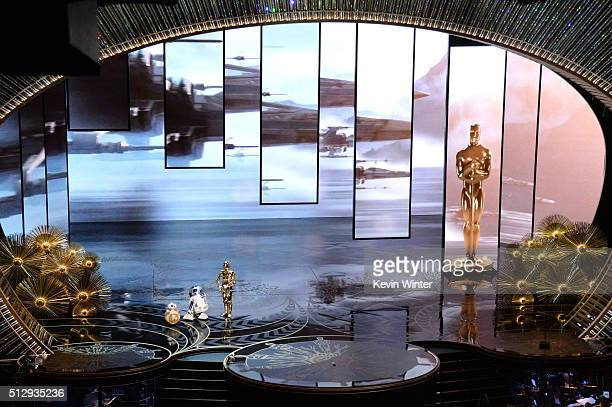 BB8 R2D2 and C3PO from 'Star Wars' appear onstage during the 88th Annual Academy Awards at the Dolby Theatre on February 28 2016 in Hollywood...