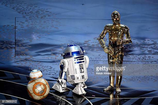 And C-3PO from 'Star Wars' appear onstage during the 88th Annual Academy Awards at the Dolby Theatre on February 28, 2016 in Hollywood, California.