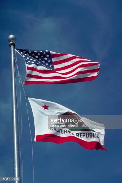 US and California Republic Flag