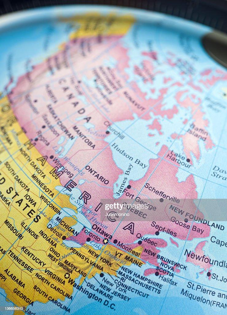 us and canada east coast map stock photo