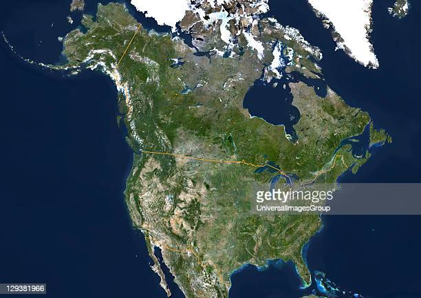 USA and Canada true colour satellite image This image was compiled from data acquired by LANDSAT 5 7 satellites United States True Colour Satellite...