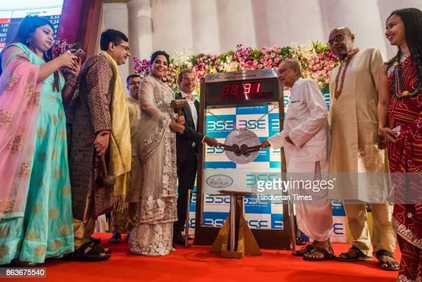 MD and CEO Ashishkumar Chauhan along with Bollywood actress Richa Chadda during Muhurat trading during Lakshmi Pujan on the occasion of Diwali at the...