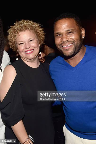 CEO and Chairman Debra Lee and actor Anthony Anderson attend Debra Lee's PRE kicking off the 2016 BET Awards on June 22 2016 in Los Angeles California