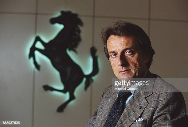 CEO and Chairman of Ferrari Luca Di Montezemolo poses for a portrait in front of the Prancing Horse logo of Ferrari on 1 May 1999 at the Scuderia...