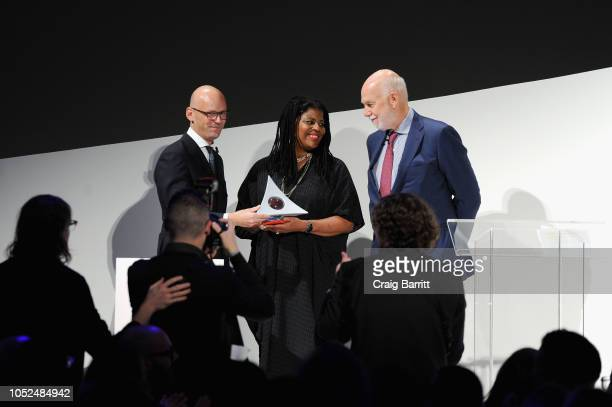 CEO and Chairman of HUGO BOSS AG Mark Langer Artist Simone Leigh and Director of the Solomon R Guggenheim Museum and Foundation Richard Armstrong...