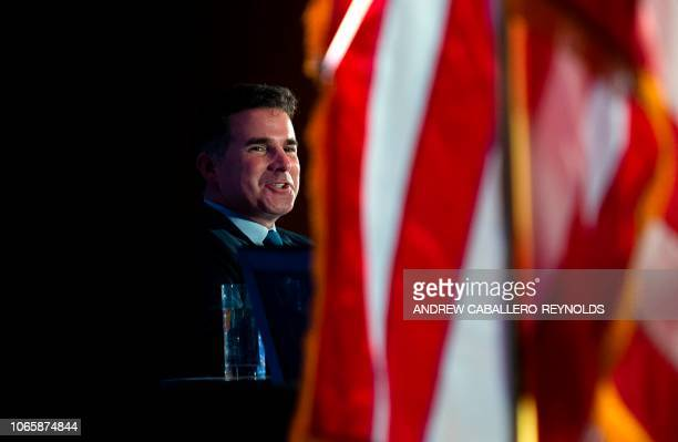 CEO and Chairman of the Board of Under Armour Kevin Plank speaks during a discussion with The Economic Club in Washington DC on November 27 2018