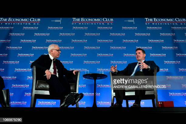 CEO and Chairman of the Board of Under Armour Kevin Plank speaks with President of the Economic Club of Washington DC and CoFounder and CoCEO of the...
