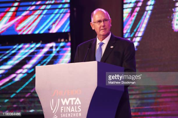 And Chairman of the WTA Steve Simon delivers a speech during the Official Draw Ceremony and Gala of the 2019 WTA Finals at Hilton Shenzhen Shekou...
