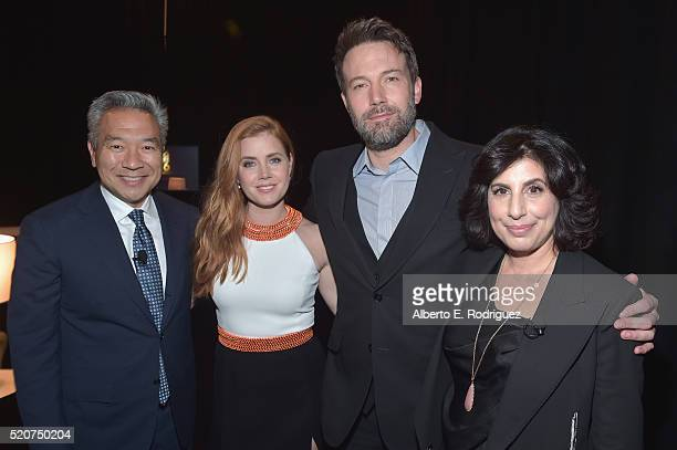 CEO and Chairman of Warner Bros Kevin Tsujihara actors Amy Adams Ben Affleck and Warner Bros Pictures President of Worldwide Marketing and...