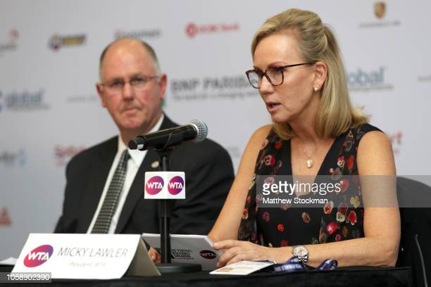 CEO and Chairman Steve Simon and WTA President Micky Lawler speak to the media at a press conference at Singapore Sports Hub on October 24 2018 in...
