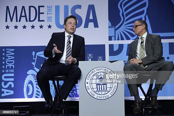 CEO and chief designer of SpaceX Elon Musk and EXIM chairman and president Fred Hochberg speaks at the 2014 annual conference of the ExportImport...