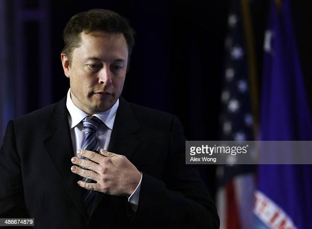 CEO and chief designer of SpaceX Elon Musk arrives for a discussion during the 2014 annual conference of the ExportImport Bank April 25 2014 in...
