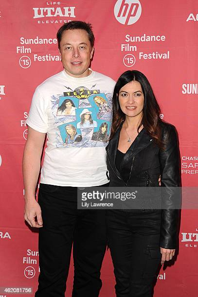 CEO and Chief Product Architect of Tesla Motors Elon Musk and Leilani Munter attend the RACING EXTINCTION Premiere at The Marc Theater on January 24...