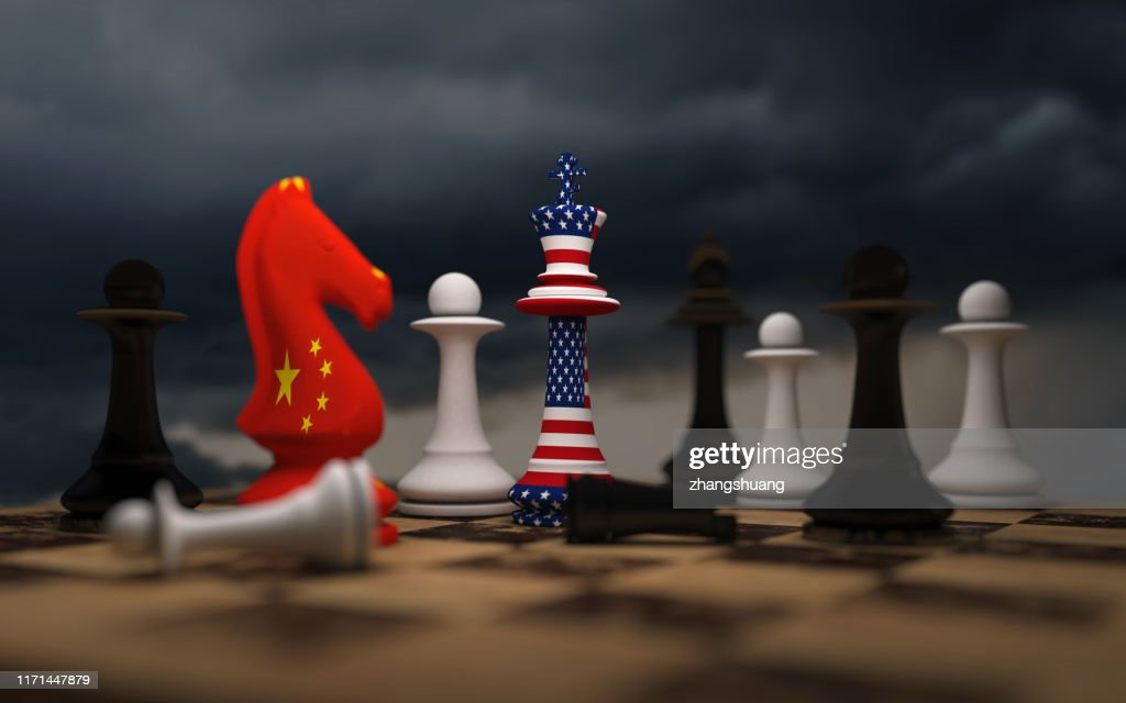 USA and China trade relations, cooperation strategy. US America and China flags on chess king on a chessboard. : Stock Photo