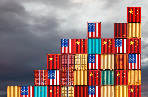 US and Chinese cargo containers 1073899598