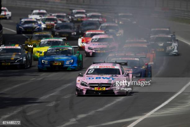 And Christian Vietoris and Mattias Ekstroem and Robert Wickens and Mike Rockenfeller and Paul Di Resta and Jamie Green and Lucas Auer drives during...