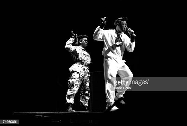 S1W and Chuck D of the rap group 'Public Enemy' performs onstage at the Hammersmith Odeon on February 11 1987 in London England