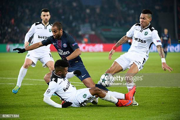 and Cicinho of Ludogorets and Abel Anicet of Ludogorets during the Champions League match between Paris Saint Germain and Ludogorets Razgrad at Parc...