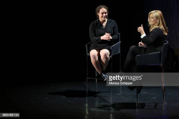 CEO and CoFounder at SolePower Hahna Alexander speaks with news anchor Alex Witt on stage at the 8th Annual Women In The World Summit at Lincoln...