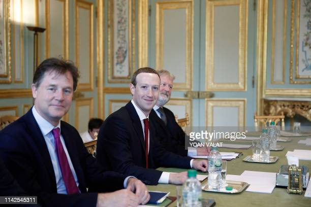 CEO and cofounder of Facebook Mark Zuckerberg poses next to Facebook head of global policy communications and former UK deputy prime minister Nick...
