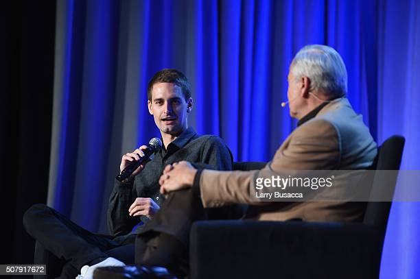 CEO and cofounder of Snapchat Evan Spiegel speaks onstage with The New Yorker staff writer Ken Auletta at the American Magazine Media Conference at...