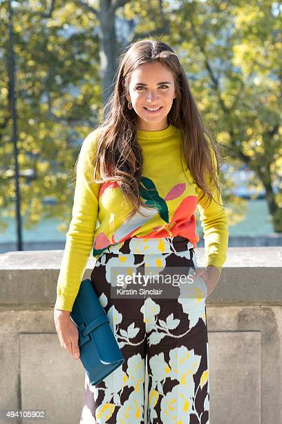 CEO and CoFounder of The Webster Miami Laure Heriard Dubereuil wears a Delpozo top and a Hermes bag on day 3 during Paris Fashion Week Spring/Summer...
