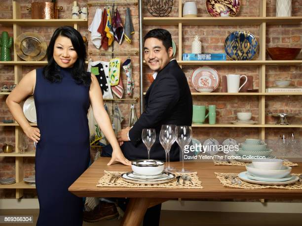 And co-founder of Zola Shan-Lyn Ma and co-founder Nobu Nakaguchi are photographed for Forbes Magazine on September 7, 2017 in New York City....
