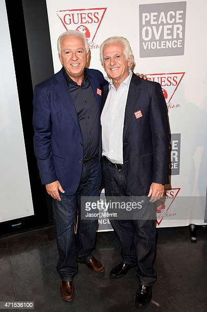 CEO and Creative Director of GUESS Inc Paul Marciano and Chairman of the Board of GUESS Inc Maurice Marciano attend the GUESS and Peace Over Violence...