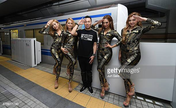 DANCE and dancers pose for a photograph during SEIBU RAILWAY PRESENTS ageHa TRAIN on June 5 2015 in Tokyo Japan The Seibu Railway Company Ltd and the...