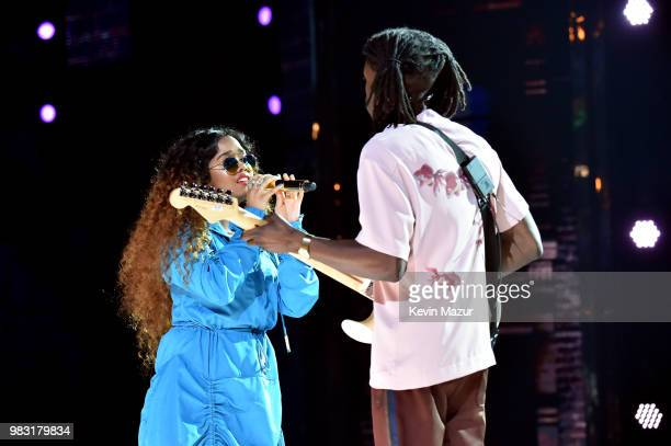 R and Daniel Caesar perform onstage at the 2018 BET Awards at Microsoft Theater on June 24 2018 in Los Angeles California