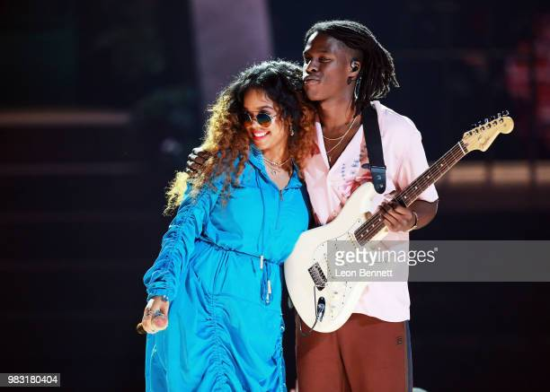 and Daniel Caesar perform onstage at the 2018 BET Awards at Microsoft Theater on June 24 2018 in Los Angeles California