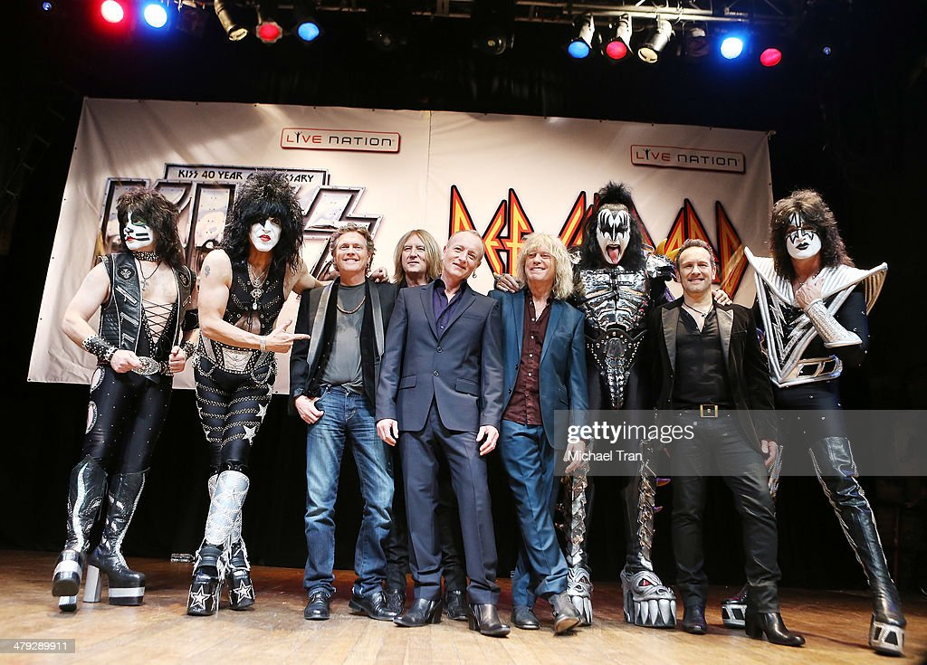 KISS and Def Leppard attend the announcment of their 2014 Summer tour held at The House of Blues on Sunset on March 17, 2014 in Los Angeles, California.
