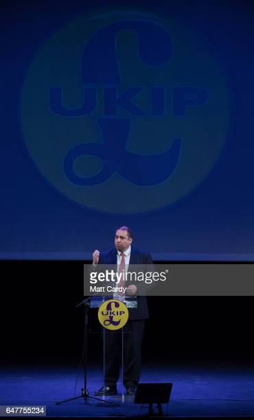 MEP and defence spokesman Bill Etheridge speaks at the UKIP South West regional conference at the Weymouth Pavilion on March 4 2017 in Weymouth...