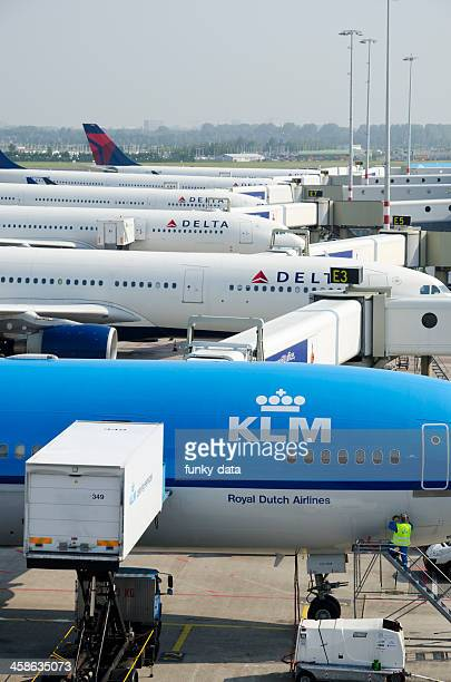 klm and delta airplanes parked in schiphol - airplane tail stock pictures, royalty-free photos & images