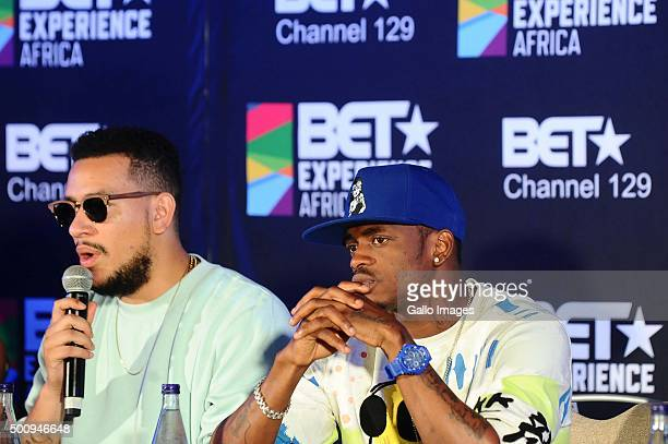 AKA and Diamond Platnumz at the BET Experience Africa press conference on December 11 2015 at the Radisson Blue Hotel in Johannesburg South Africa...