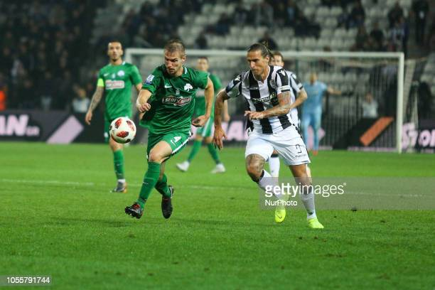 and DIMITRIS KOLOVETSIOS FC PAOK vs Panathinaikos FC 2 0 in Toumba stadium in Thessaloniki for the 8th round of the Greek Superleague Championship on...