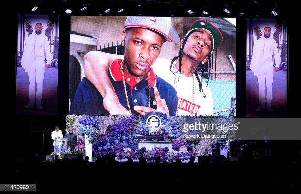 YG and DJ Mustard speak onstage during Nipsey Hussle's Celebration of Life at STAPLES Center on April 11 2019 in Los Angeles California Nipsey Hussle...