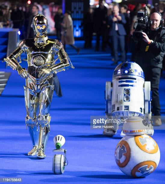 D2 BB8 and DO attends Star Wars The Rise of Skywalker European Premiere at Cineworld Leicester Square on December 18 2019 in London England