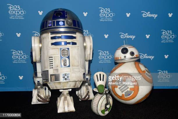 R2D2 BB8 and DO of 'Star Wars The Rise of Skywalker' took part today in the Walt Disney Studios presentation at Disney's D23 EXPO 2019 in Anaheim...