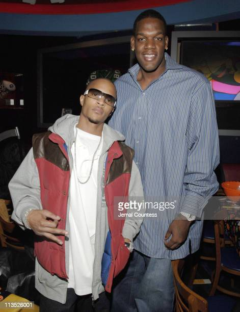 TI and Eddy Curry during New York Knicks TipOff ReadtoAchieve Campaign with Halloween Bash for Kids at Planet Hollywood at Planet Hollywood in New...